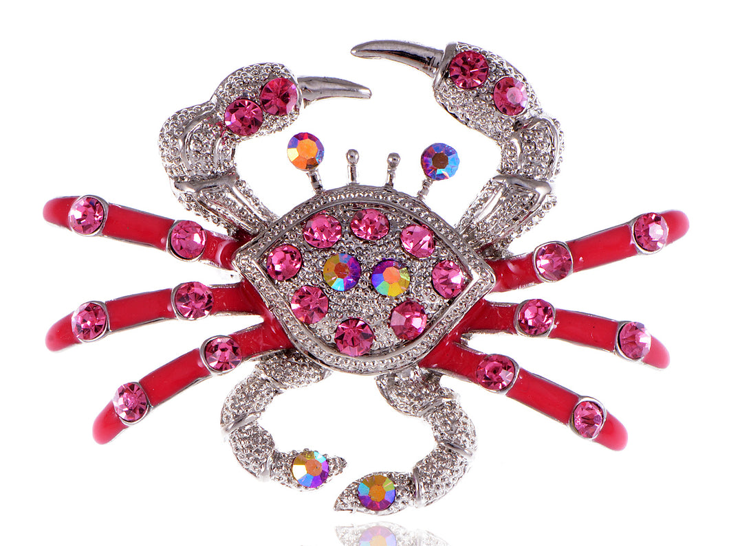 Rose Pink Pink Enamel Crab Crustaceans Pin Brooch
