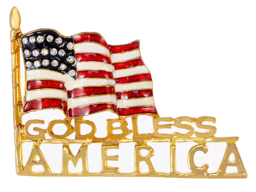 Stripes Enamel God Bless America Usa Flag Brooch Pin