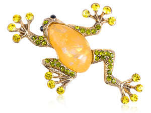 Lime Green Acry Gem Frog Toad Amphibian Pin Brooch