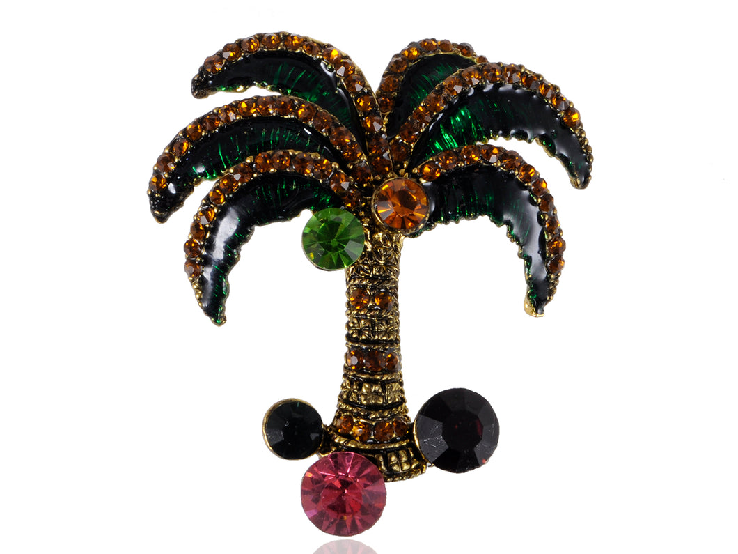 Multi Color Jeweled Green Enamel Palm Tree Pin Brooch