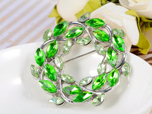 Green Fresh Spring Leaves Pin Brooch