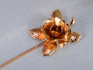 Copper Brown Flower Rose Leaves Single Pin Brooch