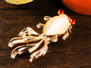 Single Off White Pearl Red Eyes Goldfish Single Pin Brooch