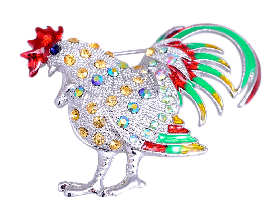 Multi Colored Chicken Rooster Hen Brooch Pin