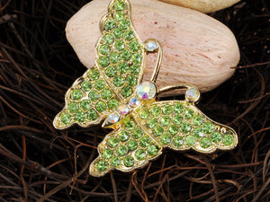 Green And White Embellished Butterfly Pin Brooch