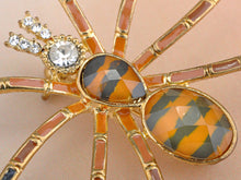 Load image into Gallery viewer, Design Spider Brown Topaz Enamel Brooch Pin