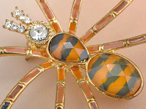 Design Spider Brown Topaz Enamel Brooch Pin