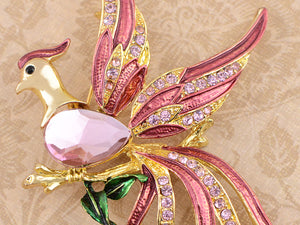 Rone Shine Pink Enamel Stunning Phoenix Flying Bird Brooch Pin