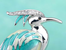 Load image into Gallery viewer, Blue Enamel Painted Standing Crane Bird Brooch Pin