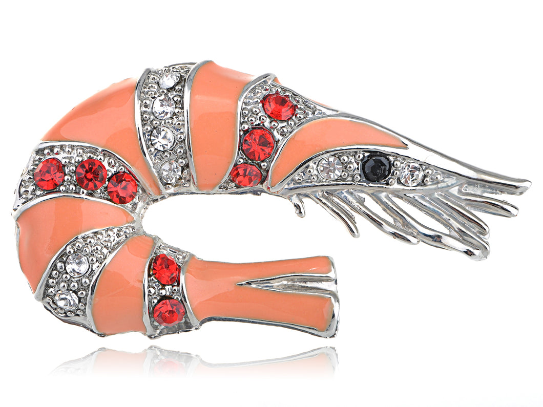 Multi Color Peach Shrimp Crawfish Brooch Pin