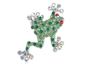 Green Poison Water Frog Toad Brooch Pin