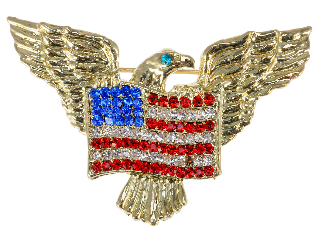 Patriotic American Eagle Usa Flag Brooch Pin