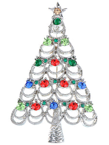 Multi Colored Holiday Christmas Tree Jewel Pin Brooch