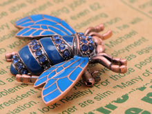 Load image into Gallery viewer, Rose Copper Sapphire Blue Colored Beetle Bee Brooch Pin