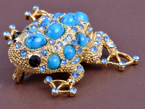 Sapphire & Bead Embedded Frog Toad Jewelry Pin Brooch