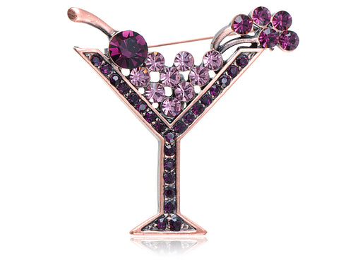 Copper Purple Cocktail Wine Cherry Glass Brooch Pin