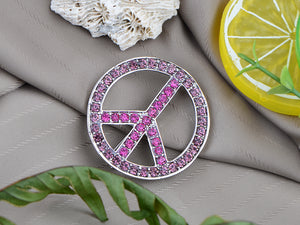 Vintage Shine Purple Pink Hippie Peace Sign Brooch Pin Pendent