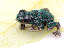 Load image into Gallery viewer, Green Frog Happy Brass Pin Brooch Black Eye Emerald Pin