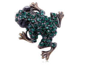 Green Frog Happy Brass Pin Brooch Black Eye Emerald Pin