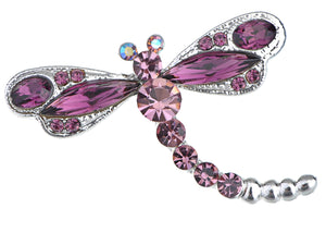 Amethyst Purple Colored Dragonfly Brooch Pin