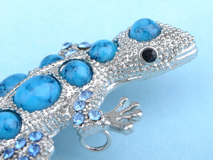 Sapphire Blue Bumpy Back Beaded Lizard Animal Pin Brooch