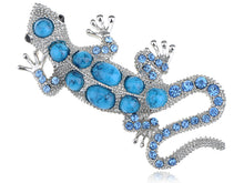 Load image into Gallery viewer, Sapphire Blue Bumpy Back Beaded Lizard Animal Pin Brooch