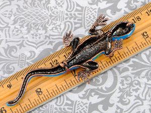 Incredible Enamel Body Sapphire Lizard Reptile Pin Able Brooch