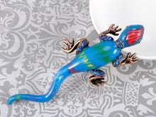 Load image into Gallery viewer, Incredible Enamel Body Sapphire Lizard Reptile Pin Able Brooch