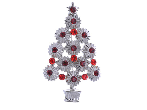 Alilang Trendy Ruby Red Crystal Rhinestone Christmas Tree Holiday Pin Brooch Pendant
