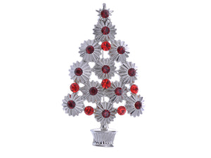 Trendy Ruby Red Christmas Tree Holiday Pin Brooch Pendant
