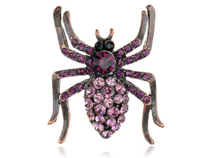 Amethyst Dazzling Purple Spider Bug Insect Pin Brooch