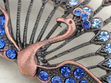 Load image into Gallery viewer, Bright Blue Jewel Beaded Peacock Pin Jewelry Brooch