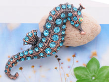 Load image into Gallery viewer, Copper Light Blue Nautical Ocean Seahorse Brooch Pin
