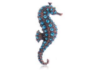 Copper Light Blue Nautical Ocean Seahorse Brooch Pin