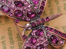 Load image into Gallery viewer, Gun Purple Gem Antique Butterfly Brooch Pin