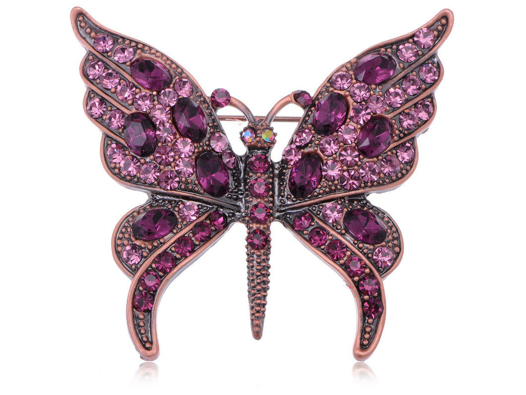 Gun Purple Gem Antique Butterfly Brooch Pin