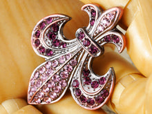 Load image into Gallery viewer, Copper Purple French Fleur De Lis Lily Brooch Pin