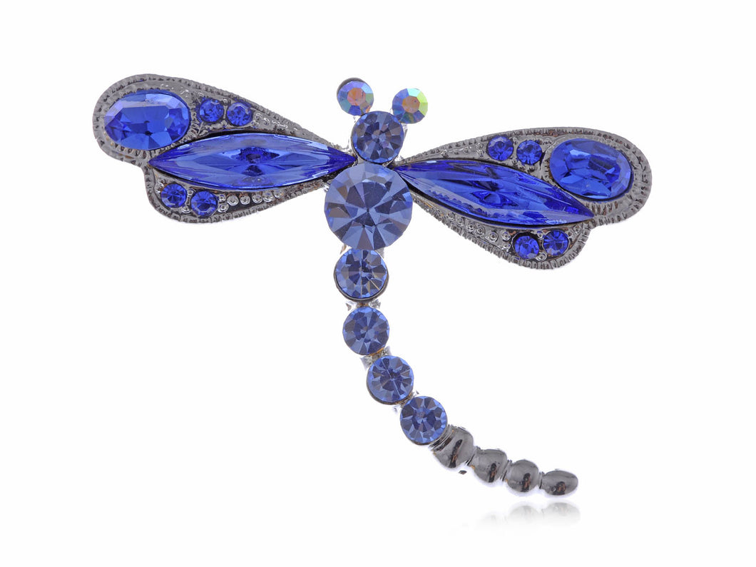 Dark Blue Dragonfly Brooch Pin