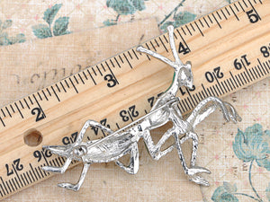 Silver Glitter Green Long Praying Mantis Insect Brooch Pin