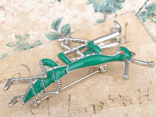Load image into Gallery viewer, Silver Glitter Green Long Praying Mantis Insect Brooch Pin
