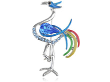 Load image into Gallery viewer, Capri Blue Multi Color Enamel Crane Bird Pin Brooch