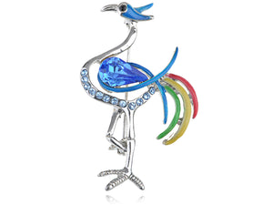 Capri Blue Multi Color Enamel Crane Bird Pin Brooch