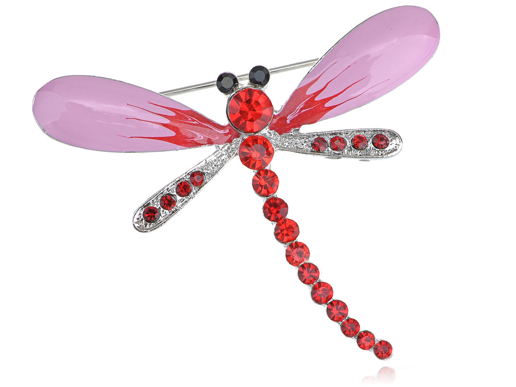 Fuchsia Enamel Ruby Red Dragonfly Insect Pin Brooch