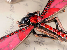 Load image into Gallery viewer, Bronze Red Dragonfly Insect Wings Brooch Pin