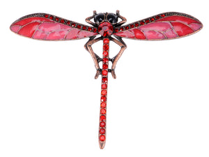 Bronze Red Dragonfly Insect Wings Brooch Pin