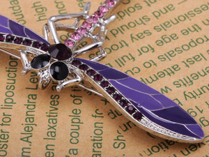 Lavender Purple Enamel And Dragonfly Brooch Pin Pendant