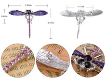 Load image into Gallery viewer, Lavender Purple Enamel And Dragonfly Brooch Pin Pendant