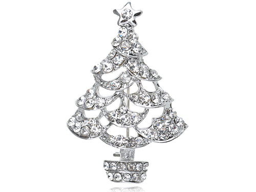 Alilang Clear Crystal Rhinestone Silvery Tone Holiday Christmas Tree Sparkle Pin Brooch