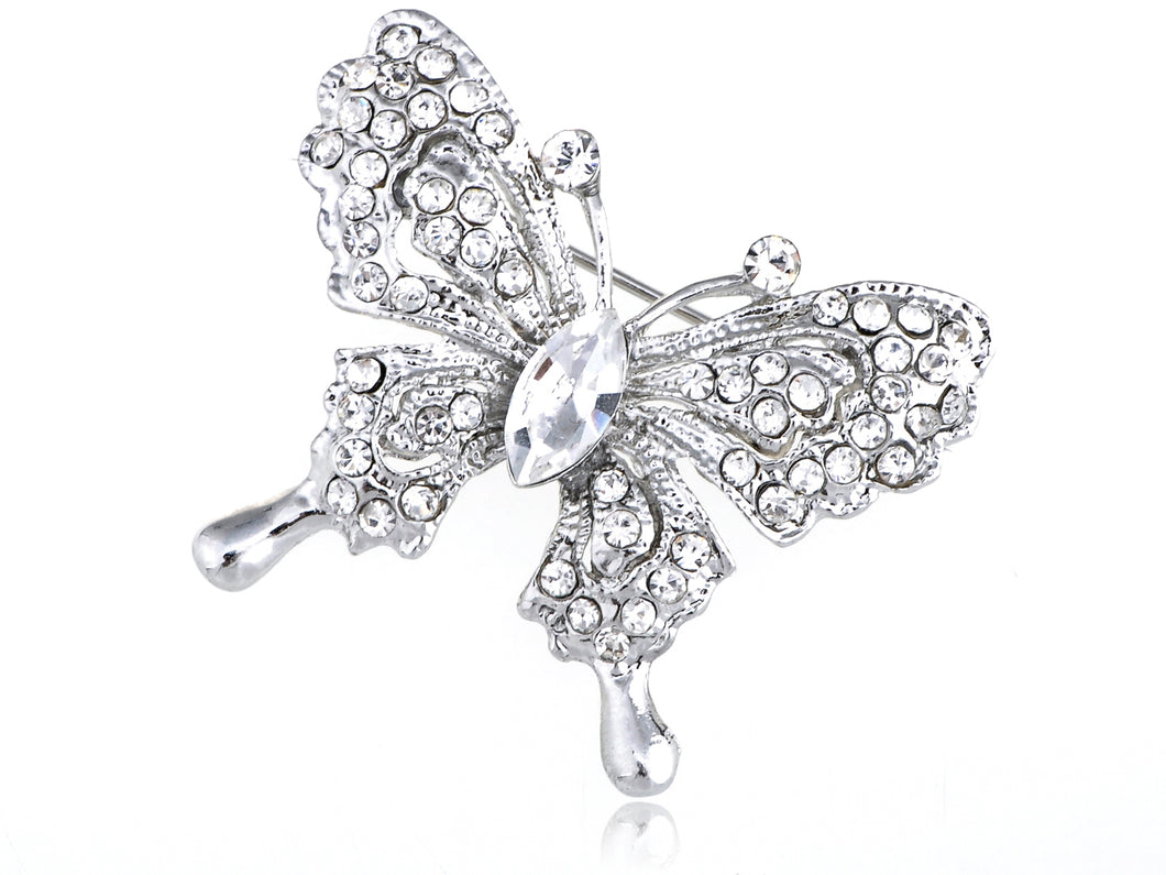 Glass Bead Butterfly Brooch Pin