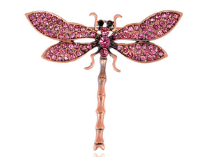 Fuchsia Pink Dragonfly Brooch Pin